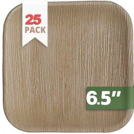 "Palm Natural Leaf 6.5"" Square Plates Set | 25 Pieces Pack"