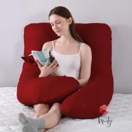Nudge Premium U-Shape Red Pillow For Pregnancy